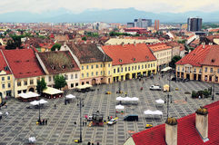 Top view of the city square of Sibiu, Romania Royalty Free Stock Image