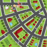 Top view of the city of streets, roads, houses, treetop. Vector vector illustration