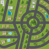 Top view of the city of streets, roads, houses, treetop Royalty Free Stock Images