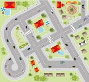 Top view of the city of streets, roads, houses, vector Stock Photo