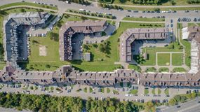 Top view of city suburban houses stock photos