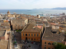 Top view of a city on the top with sky port roofs buildings squa. Re in Cagliari Stock Image