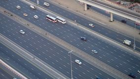 Top view city traffic of highway and bridge. Stock. Top view of the highway with cars in Dubai stock photos