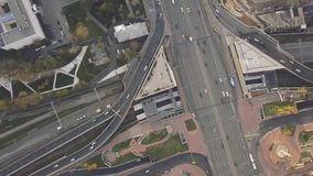 Top view city traffic of highway, logistics. Clip. Aerial top view of road junction from above, automobile traffic and. Jam of many cars, transportation concept stock footage