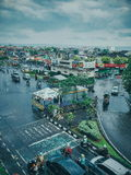 Top view city traffic. Portrait lanscape city street , indonesia Stock Image