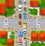 Top view of the city. Top view of the  Urban crossroads with cars and houses Stock Photos