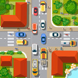 Top view of the city. Urban crossroads with cars and houses, pedestrians Stock Photography