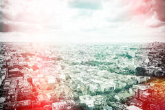 Top view cityscape with cloudy sky Stock Photography