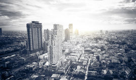 Top view cityscape with cloudy sky.  Stock Photos