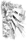 Top view of cityscape. Free hand drawing Stock Photos