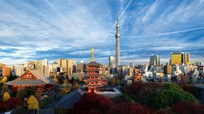 Top view of cityscape of Sensoji temple stock photo