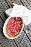 Top view of clafoutis cake Royalty Free Stock Image
