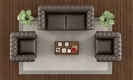 Top view of a classic living room. With brownsofa,armchairs and coffee table on carpet - 3d rendering Stock Photography