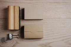Top view of classic office elements on the wooden Stock Photography