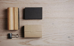 Top view of classic office elements on the wooden Royalty Free Stock Photo