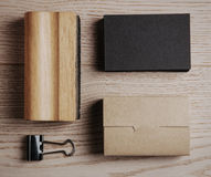 Top view of classic office elements on the wooden royalty free stock images