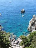 Top view of cliffs, bays, clear sea. Holiday Royalty Free Stock Photo