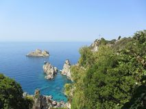 Top view of cliffs, bays, clear sea. Holiday Royalty Free Stock Photos