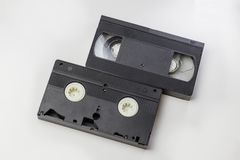 . top view, clipping path. on a white background. no isolation. Transparent VHS cassette body design layout. Retro tv cover video. Top view, clipping path. on a stock images
