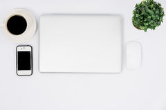 Top view close laptop or notebook workspace office Stock Photography