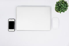 Top view close laptop or notebook workspace office Stock Image