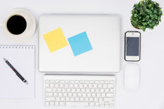 Top view close laptop or notebook workspace office Royalty Free Stock Images