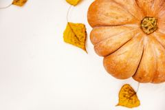 Top view close up Autumn pumpkin on white table with dry fall au. Tumnal leaves ,copy space Royalty Free Stock Photos