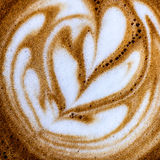 Top view close up image of cup of coffee with creative milk decoration Stock Photos