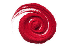Top view close up of red color spiral. Stock Photos