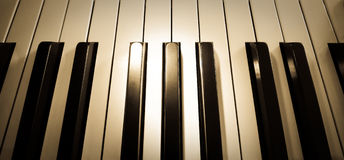 Top view close up shot of piano keyboard Royalty Free Stock Images