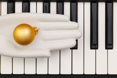 Top view close up shot of piano keyboard and Christmas decoratio Royalty Free Stock Images
