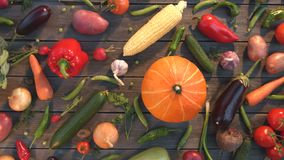 Vegetable mix on the table. Top view. Close up. The smooth glide of the camera  from left to right  along the old village table with a variety of vegetables stock video footage