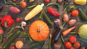 Vegetable mix on the table. Top view. Close up. The smooth glide of the camera  from right to left  along the old village table with a variety of vegetables stock video footage