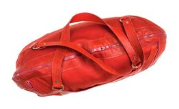Top view of closed red travelling bag isolated. On white background Royalty Free Stock Images