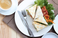 Top view, closed up tuna salad sandwich with coffee. Royalty Free Stock Photos
