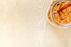 Top view of closeup Iced milk tea, Thai Ice Tea at corner on bri Royalty Free Stock Photo