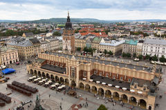 Top view of the cloth hall in main market square of Krakow Royalty Free Stock Photo