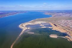 Top view of the coastal zone of the ecological reserve Kuyalnik estuary, Odessa, Ukraine. Aerial view from drone to sea estuaries stock image