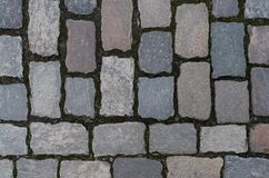 Top view of cobblestone road. Surface closeup Stock Photography
