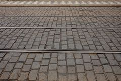 Top view of cobblestone street, background. royalty free stock photos