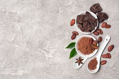 Top view on cocoa beans and powder with chocolate chunks for confectionery