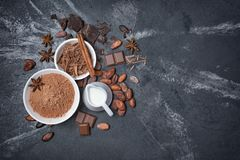 Top view of cocoa powder and chocolate chips in white bowls and whole cacao beans with spices