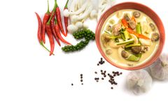 Top view of coconut milk soup with mushroom and meat surround by Royalty Free Stock Photo