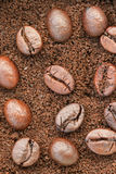 Top view : Coffee beans on coffee powder Stock Image