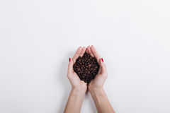 Top view of coffee beans in female hands on a white background Stock Images