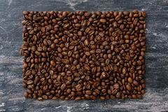 Top view of coffee beans in the form of rectangle Stock Photo