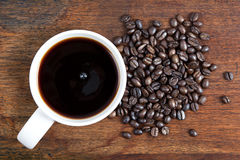 Top View Coffee and Beans Royalty Free Stock Image