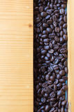 Top view coffee beans on wooden Stock Photo