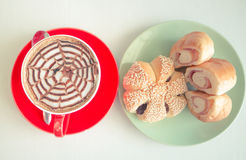Top view coffee and bread. On white table made vintage filter style Stock Photography