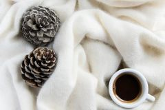 Top view of coffee cup in a cozy warm blanket with pine cone. S. Autumn-winter concept Stock Image